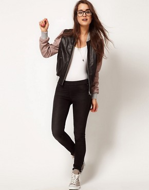 Image 4 ofASOS Contrast Leather Bomber Jacket
