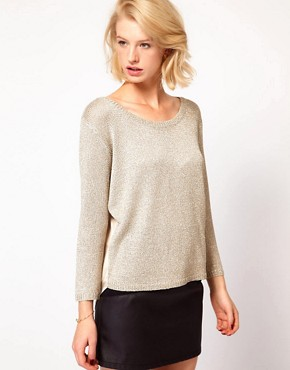 Image 1 ofASOS Woven Back Jumper