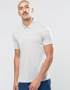 ASOS Textured Polo In Grey