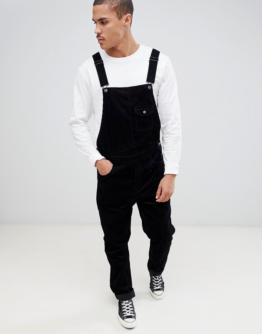ASOS DESIGN slim dungarees in black cord