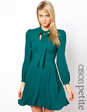 Image 1 ofASOS PETITE Exclusive Skater Dress With Pussybow Collar
