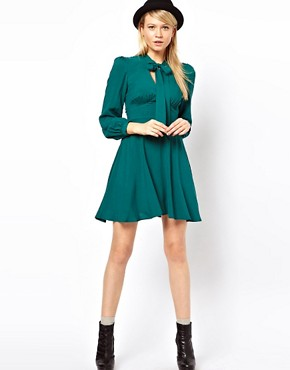 Image 4 ofASOS PETITE Exclusive Skater Dress With Pussybow Collar