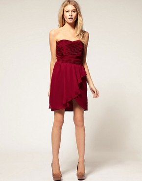 Image 4 ofASOS PETITE Exclusive Pleat Detail Drape Bandeau Dress