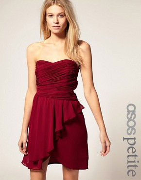 Image 1 ofASOS PETITE Exclusive Pleat Detail Drape Bandeau Dress