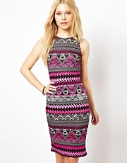 Club L Printed Midi Body-Conscious Dress