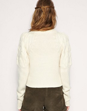 Image 2 ofASOS Cable Exaggerated Sleeve Cropped Cardigan