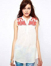 Vero Moda Bright Embroidered Tunic Shirt
