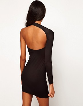 Image 2 ofASOS PETITE Bodycon Dress With One Sleeve