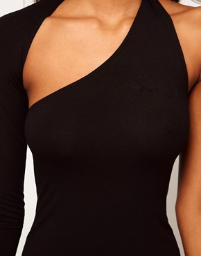 Image 3 ofASOS PETITE Bodycon Dress With One Sleeve