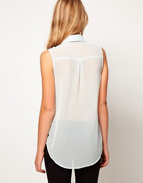 Image 2 of ASOS PETITE Exclusive Dip Back Top With Embroidered Panel