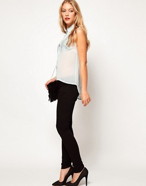 Image 4 of ASOS PETITE Exclusive Dip Back Top With Embroidered Panel
