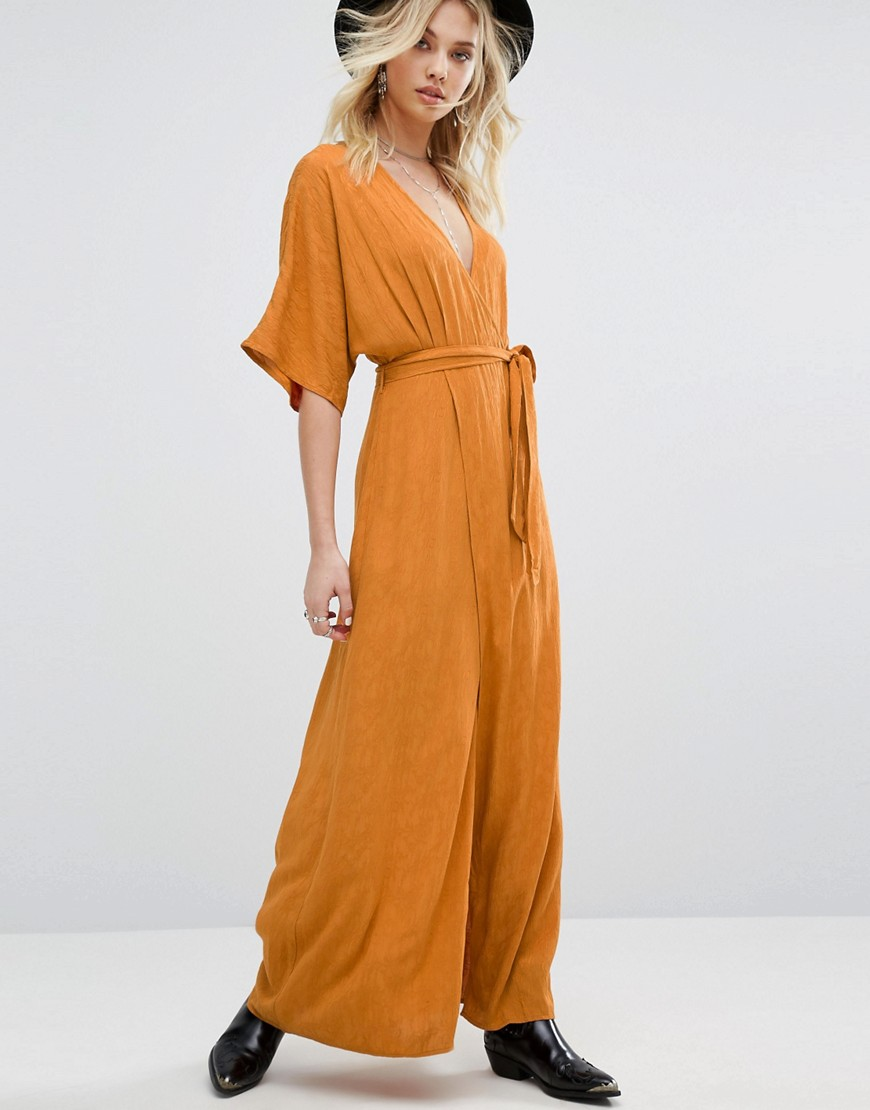 Honey Punch Wrap Front Maxi Dress With Floral Burnout - Orange