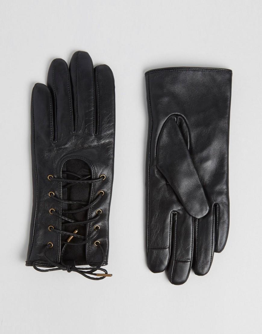 Кожаные перчатки со шнуровкой и накладками для сенсорных экранов ASOS