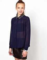 Goldie Blouse With Studded Collar