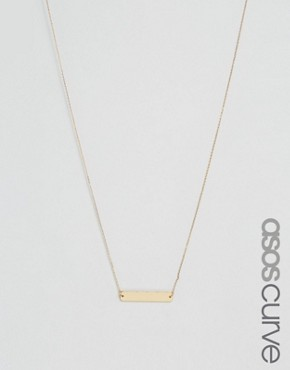 ASOS CURVE Brass Plated Smooth Bar Necklace