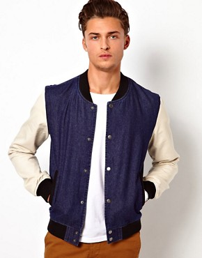 Image 1 ofASOS Denim Bomber Jacket