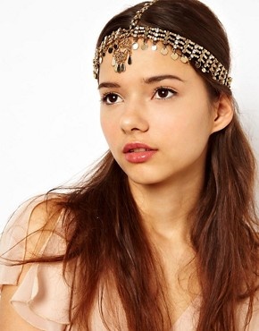 Image 1 ofRiver Island Kaballah Hand Coin And Diamante Crown Head Band