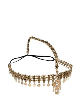 Image 2 ofRiver Island Kaballah Hand Coin And Diamante Crown Head Band