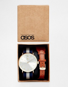 ASOS Watch With Interchangeable Strap In Stripe And Tan