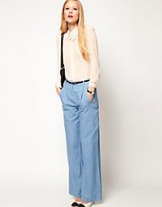 ASOS Wide Leg Trouser in Chambray Denim