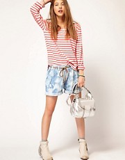 Maison Scotch Tie Dye Bermuda Shorts with Leather Belt