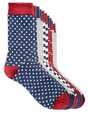 River Island 5 Pack Red &amp; White Mixed Socks