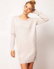 ASOS Woven Back Jumper Dress In Angora