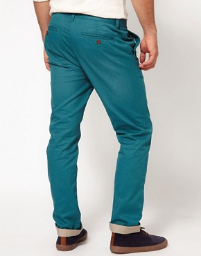Image 2 ofASOS Heavyweight Slim Chino With Contrast Turn Up