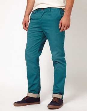 Image 1 ofASOS Heavyweight Slim Chino With Contrast Turn Up