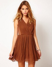 Jovonnista Pleated Wrap Dress