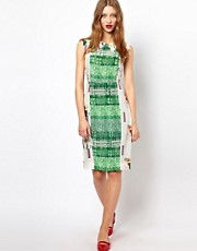 Peter Jensen Insert Collar Shell Dress in Mixed Print