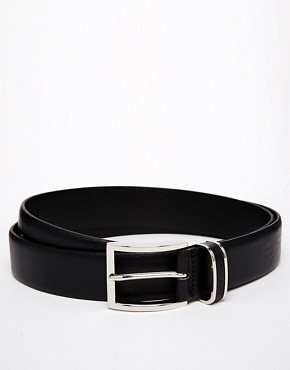 Boss Black Leather Belt With Metal Keeper Detail