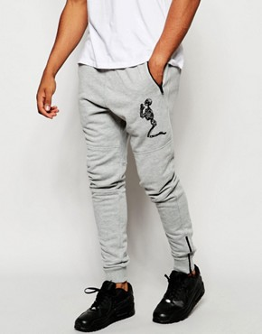 Religion Joggers with Large Skeleton Emroidery