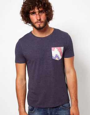 Image 1 ofASOS T-Shirt With Aztec Print Pocket