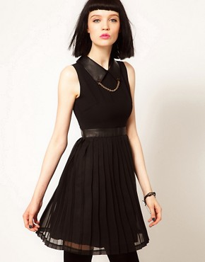 Image 1 ofSister Jane Chiffon Pleated Dress with Faux Leather and Stud Collar