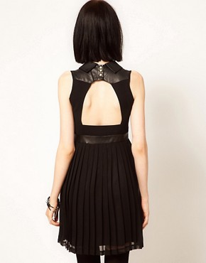 Image 2 ofSister Jane Chiffon Pleated Dress with Faux Leather and Stud Collar