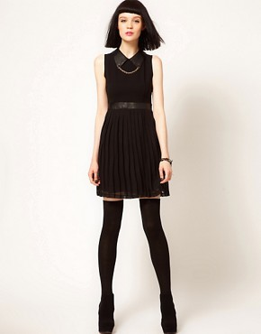 Image 4 ofSister Jane Chiffon Pleated Dress with Faux Leather and Stud Collar