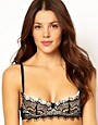 Image 1 ofMimi Holliday Pearl Silk Satin Lace Padded Super Plunge Bra