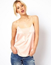 ASOS Cami With Plunge Mesh Panel And Skinny Straps