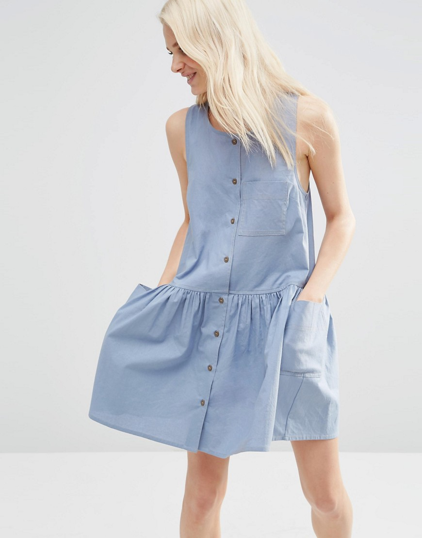 ASOS Sleeveless Button Through Smock Dress - Blue