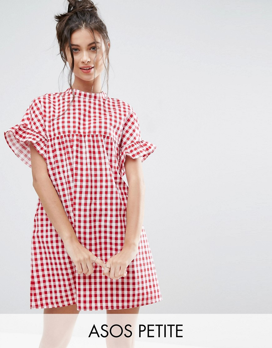 ASOS PETITE Red Gingham Smock Dress - Red