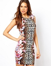 Lipsy Sleeveless Animal Floral Bodycon Dress