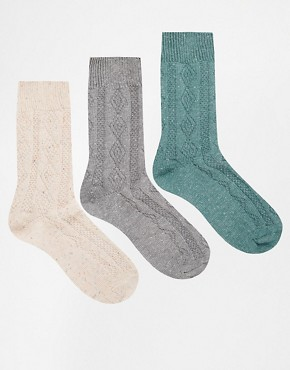 ASOS 3 Pack Boot Socks in Neppy Cable