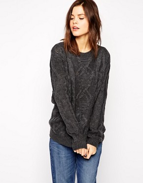 Warehouse Boyfriend Cable Sweater
