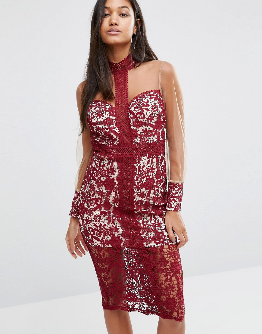 photo Longsleeve Midi Dress in Lace by Love Triangle, color Wine - Image 1