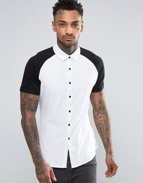 ASOS Skinny Jersey Shirt In White With Black Raglan Sleeve