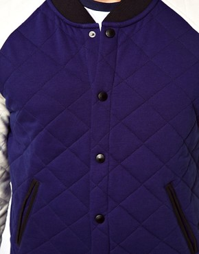 Image 3 ofASOS Varsity Jacket In Quilted Fabric