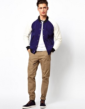 Image 4 ofASOS Varsity Jacket In Quilted Fabric