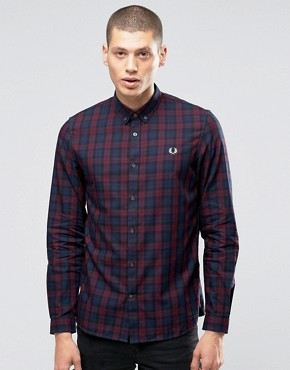 Fred Perry Shirt In Tartan In Mahogany In Slim Fit
