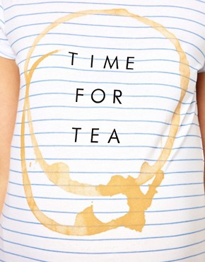 Image 3 ofASOS Maternity Time For Tea Striped T-Shirt